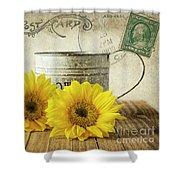 Sunflowers Postcard Shower Curtain