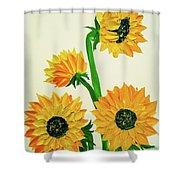 Sunflowers Using Palette Knife Shower Curtain