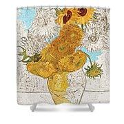 Sunflowers Van Gogh Digital Art Shower Curtain