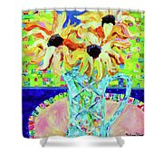Sunflowers With Trellis Collage Shower Curtain