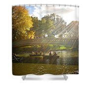 Sunlight And Boats - Central Park -  New York City Shower Curtain