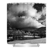 Sunlight Clouds And Snow In Black And White Shower Curtain