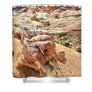Sunlight On Colorful Boulder Above Wash 3 In Valley Of Fire Shower Curtain