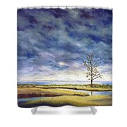 Sunlight On The Marshes 18x24 Shower Curtain
