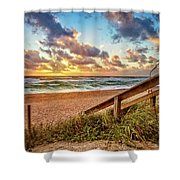 Sunlight On The Sand Shower Curtain by Debra and Dave Vanderlaan