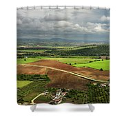 Sunlit Farms And Fields Below Arcos De La Frontera Andalusia Spa Shower Curtain