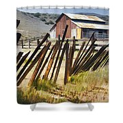 Sunlit Fence Shower Curtain