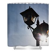 Sunlit Jewels - Stained Glass Lamps And Sunburst Right Shower Curtain