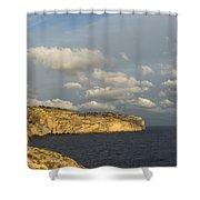 Sunlit Limestone Cliffs In Malta Shower Curtain
