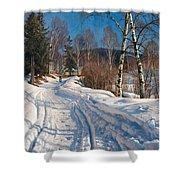 Sunlit Winter Landscape Shower Curtain