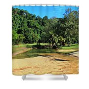 Sunny Beach Tioman Island Shower Curtain
