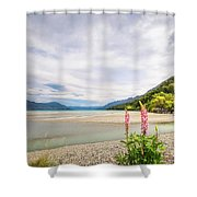 Sunny Day At Kinloch Wharf In New Zealand Shower Curtain
