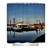 Sunny Morning At Onset Pier Shower Curtain