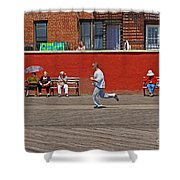 Sunny Morning On A Boardwalk In Brighton Beach  Shower Curtain
