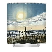 Sunny Morning On Crescent Beach Shower Curtain