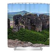 Sunny Panorama Of Greek Meteora Shower Curtain