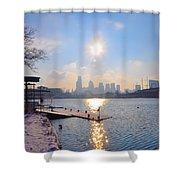 Sunny Schuylkill River In Winter Shower Curtain