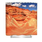Sunny Skies Over The Wave Shower Curtain