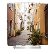 Sunny Street In Villefranche-sur-mer Shower Curtain