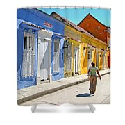 Sunny Street With Colored Houses - Cartagena-colombia Shower Curtain