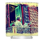 Sunny Sunday Morning Newspaper Vintage India Rajasthan Udaipur 2b Shower Curtain