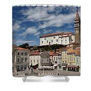 Sunny Tartini Square In Piran Slovenia With Government Building, Shower Curtain