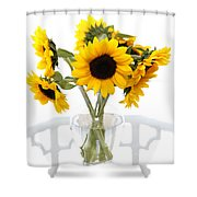 Sunny Vase Of Sunflowers Shower Curtain