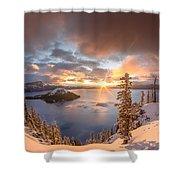 Sunrise After Summer Snowfall Shower Curtain
