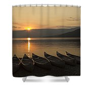 Sunrise And Canoes On Adams Lake Shower Curtain