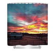 Sunrise And Horse Barn Shower Curtain