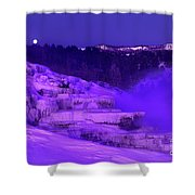 Sunrise And Moonset Over Minerva Springs Yellowstone National Park Shower Curtain