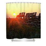 Sunrise And The Lifeguard Chairs  Shower Curtain
