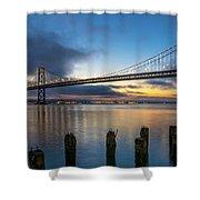 Sunrise At Bay Bridge Shower Curtain