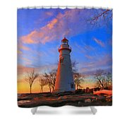 Sunrise At Marblehead Lighthouse Panorama Shower Curtain