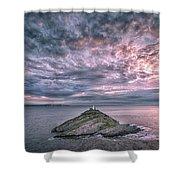 Sunrise At Mumbles Lighthouse Shower Curtain