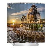 Sunrise At Pineapple Fountain Shower Curtain