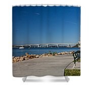 Sunrise At Ringling Bridge Shower Curtain by Michael Tesar