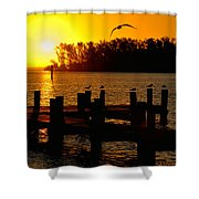 Sunrise At The Boat Launch  Shower Curtain