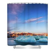 Sunrise At The Iceberg Lagoon Shower Curtain