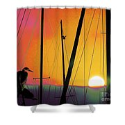 Sunrise At The Marina Shower Curtain