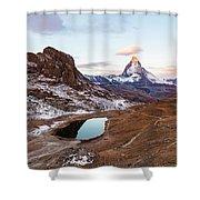 Sunrise At The Matterhorn Mountain Area Shower Curtain