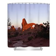 Sunrise At Tower Arch Shower Curtain