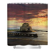 Sunrise At Vista House On Crown Point Shower Curtain