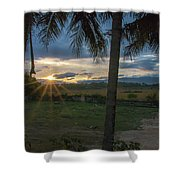 Sunrise Between The Palms Shower Curtain
