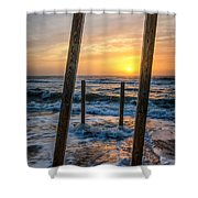 Sunrise Between The Pillars Landscape Photograph Shower Curtain