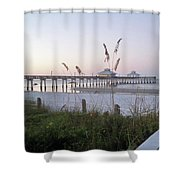 Sunrise Beyond Pier Shower Curtain