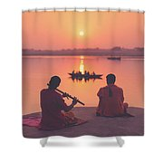 Sunrise By The Ganges Shower Curtain