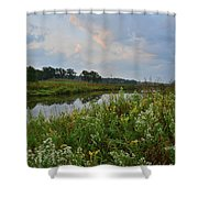 Sunrise Clouds Above Glacial Park's Nippersink Creek Shower Curtain