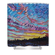Sunrise Freezing Rain Deformation Zone Shower Curtain by Phil Chadwick