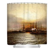 Sunrise From Chapman Dock And Old Brooklyn Navy Yard, East River, New York Shower Curtain